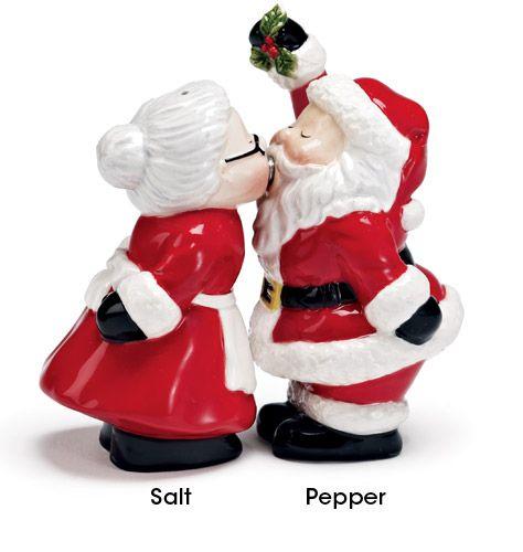 Cute kissing santa salt and pepper shakers avon for the holidays pinterest avon pepper - Salt and pepper shakers hugging ...
