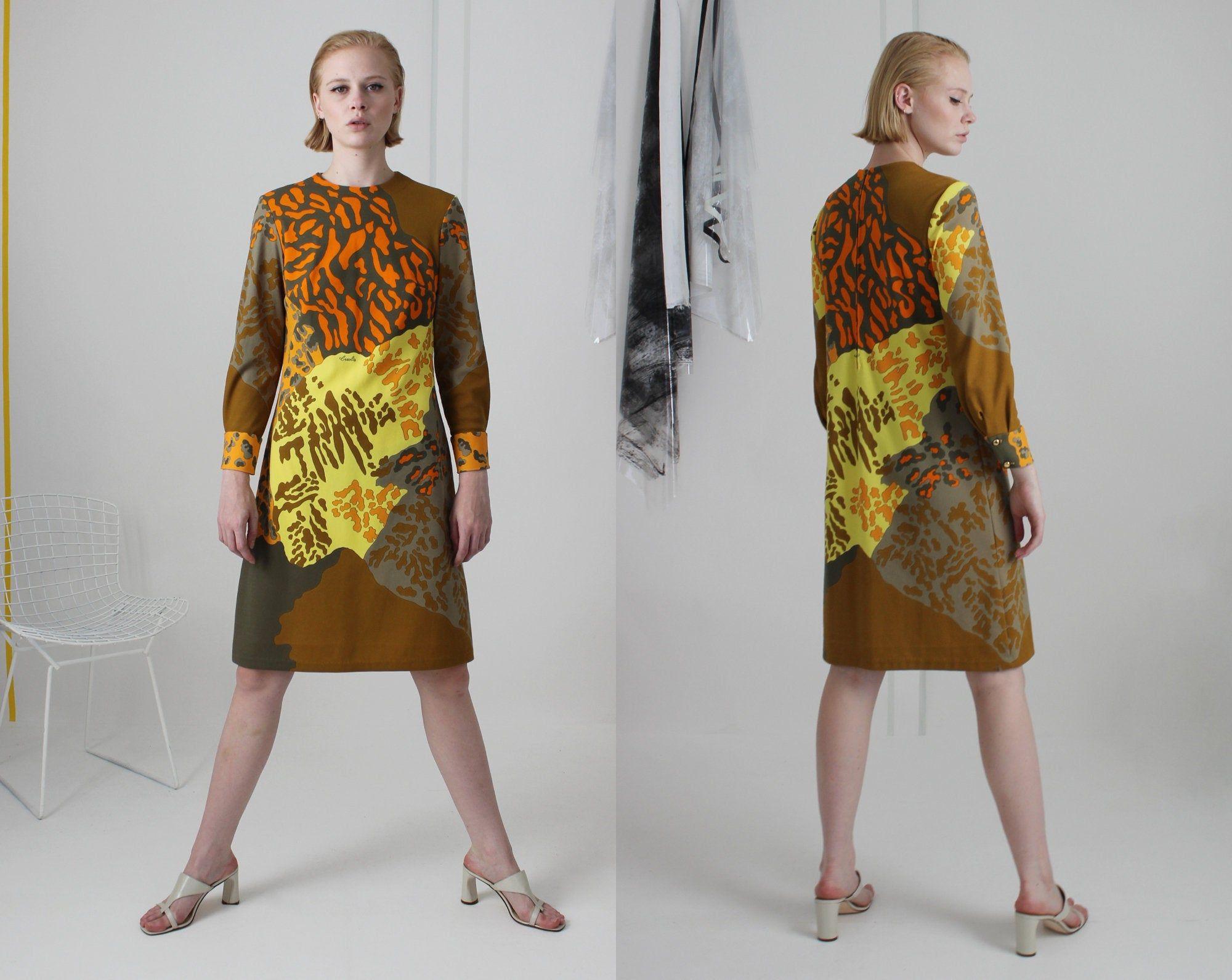 Vtg 60s 70s Psychedelic Print Shift Dress Op Art S M Etsy Printed Shift Dress Shift Dress Vintage Outfits [ 1590 x 2000 Pixel ]