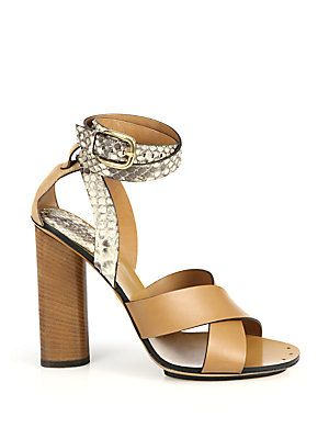 e761c80bb18 Gucci Python   Leather Stacked Heel Sandals