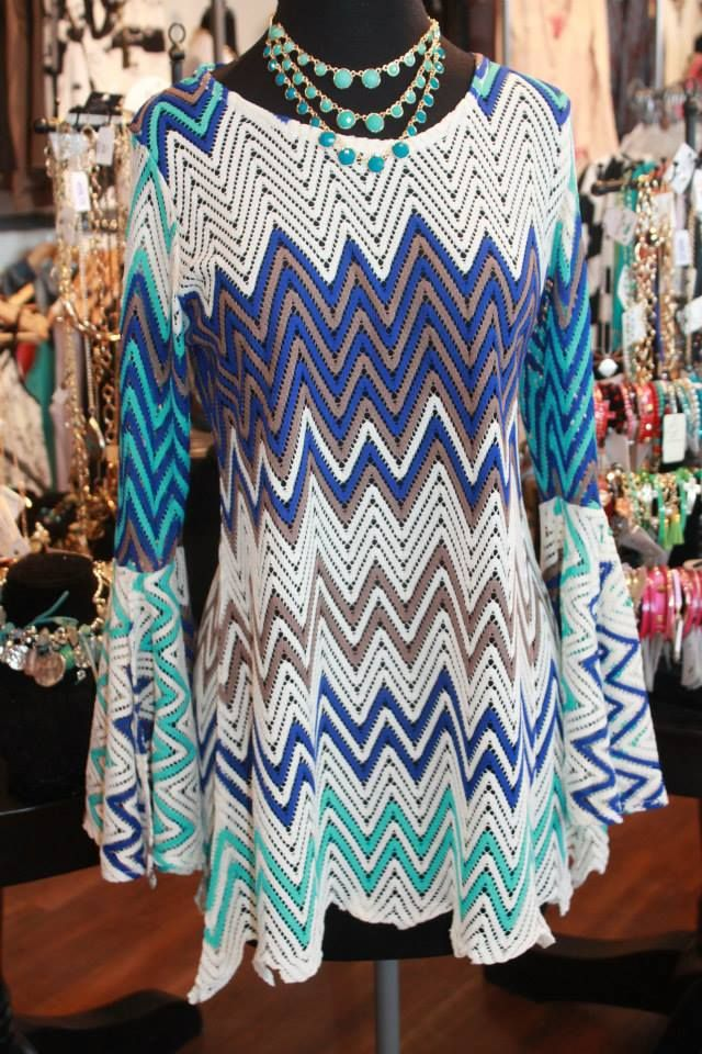 Gorgeous shades of blue chevron dress! S-XL, $74.00.