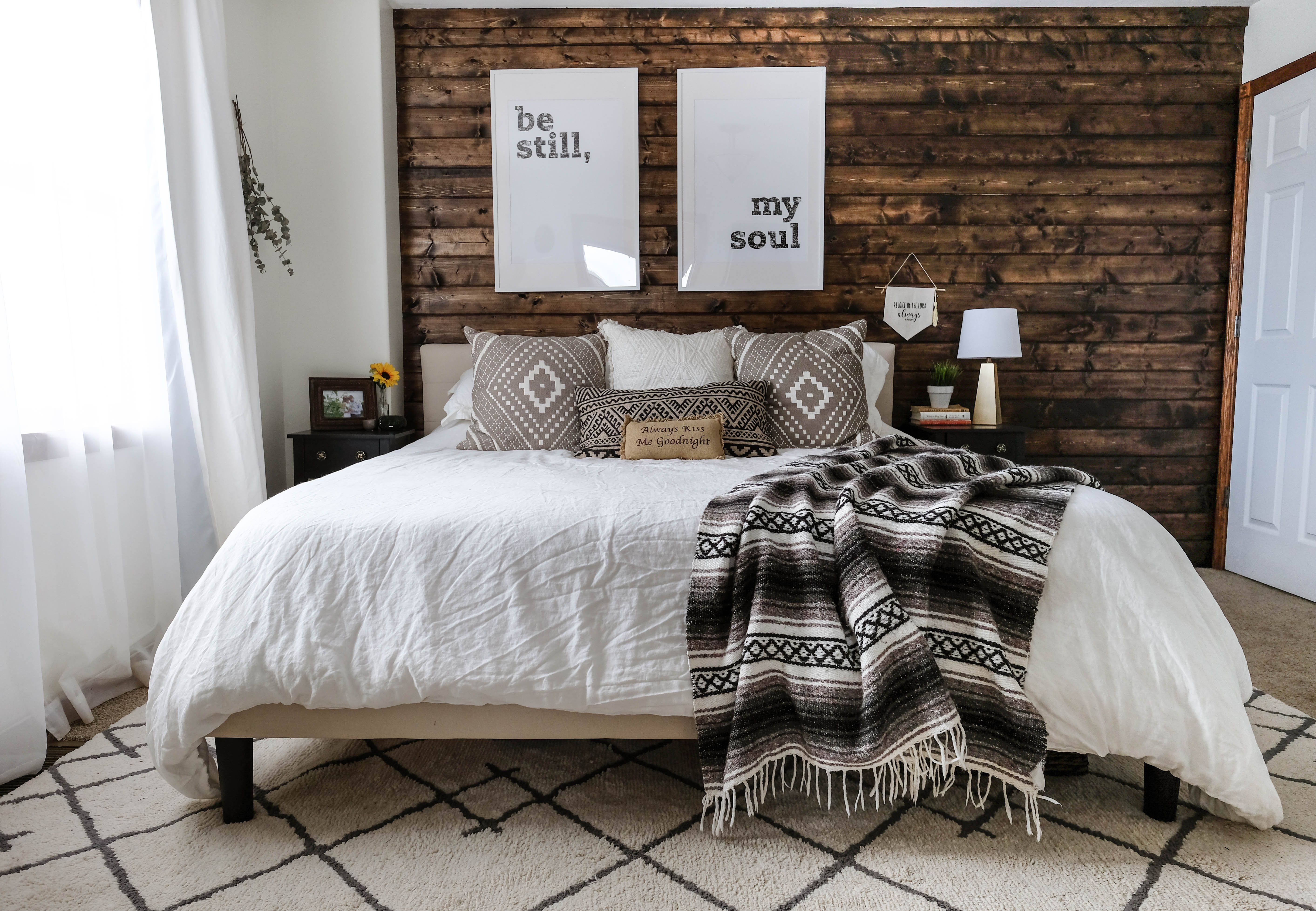 How To Build A Wood Plank Accent Wall Rustic Bedroom Decor Rustic Bedroom Modern Rustic Bedrooms