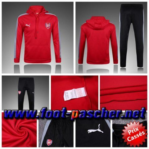 Le Plus Cool Survetements Homme Sweat Capuche Arsenal Rouge