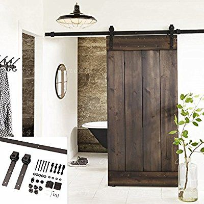 Amazon Com Erfect 6 6 Ft Brown Basic Wood Barn Door Steel Antique Style Sliding Hardware Track Set Coffee Hom Wood Barn Door Barn Doors Sliding Diy Barn Door