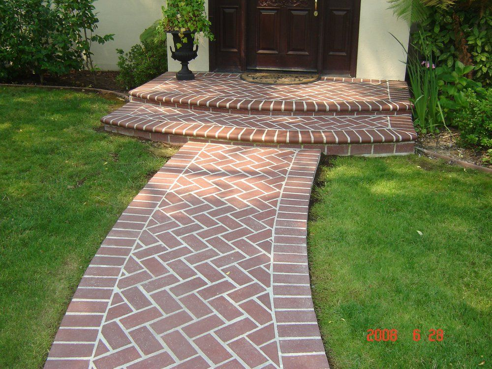 Herringbone Brick Walkways And Stairs Saratoga Backyard