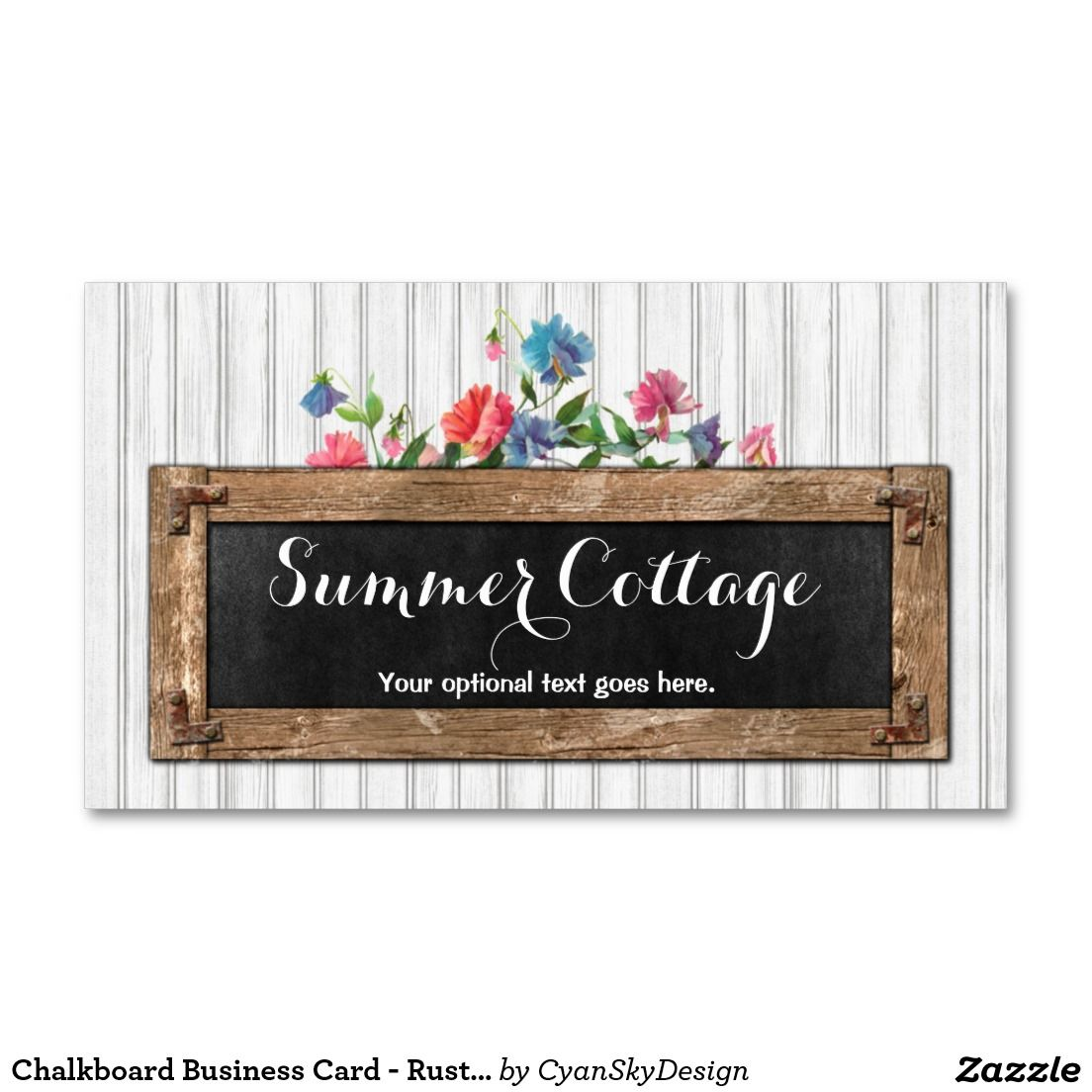 rustic chalkboard paint flowers summer cottage business card