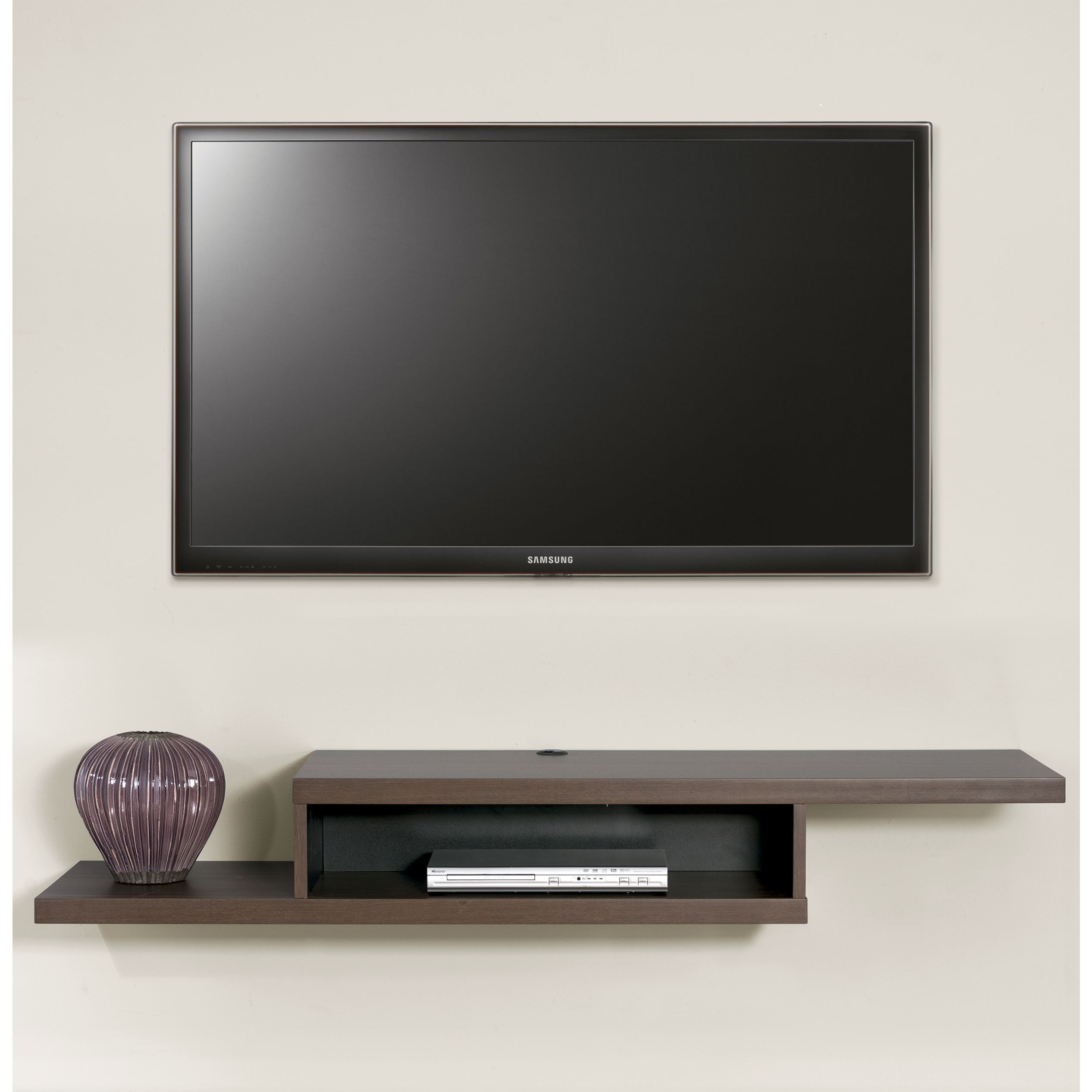 this wall mounted tv console has a modern flair with the. Black Bedroom Furniture Sets. Home Design Ideas