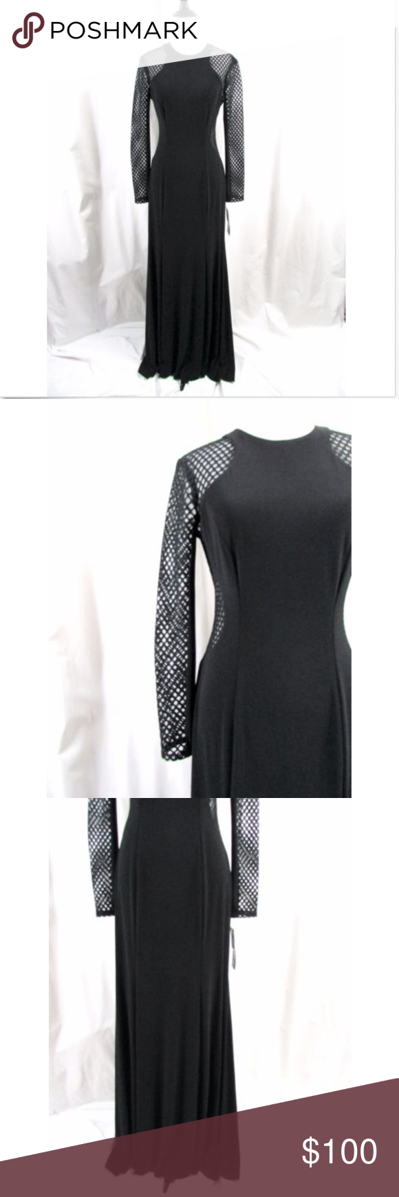 Xscape black mesh cutout long sleeve gown nwt pinterest long