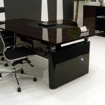 High Gloss Black Lacquer Modern Glass Desk Luxury Office Furniture Glass Desk Office