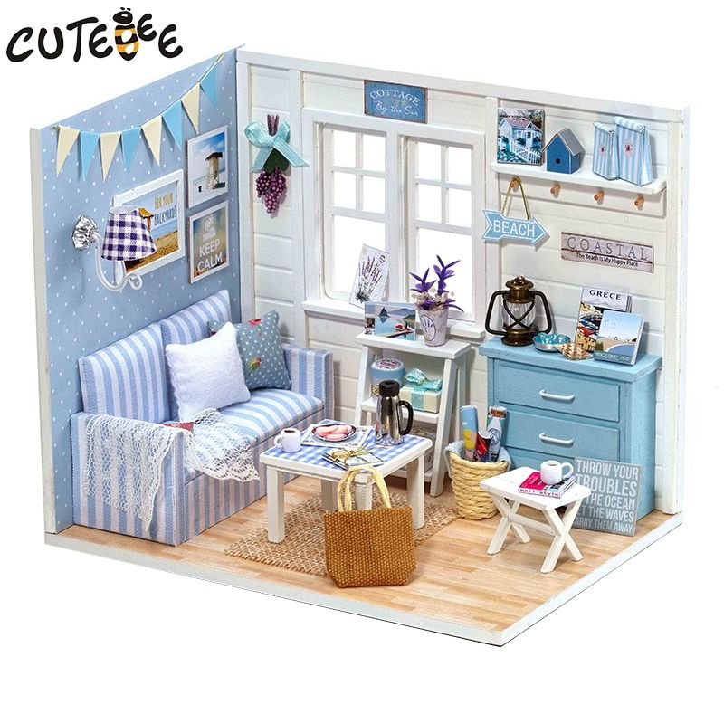 1pcs Happy Series Diy Wooden Doll House Room Box Handmade 3d