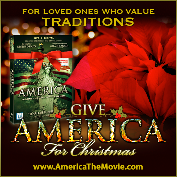 Christmas Tradition #13: Poinsettias. Facebook Christmas campaign for the Dinesh D'Souza film, AMERICA: Imagine the World Without Her.