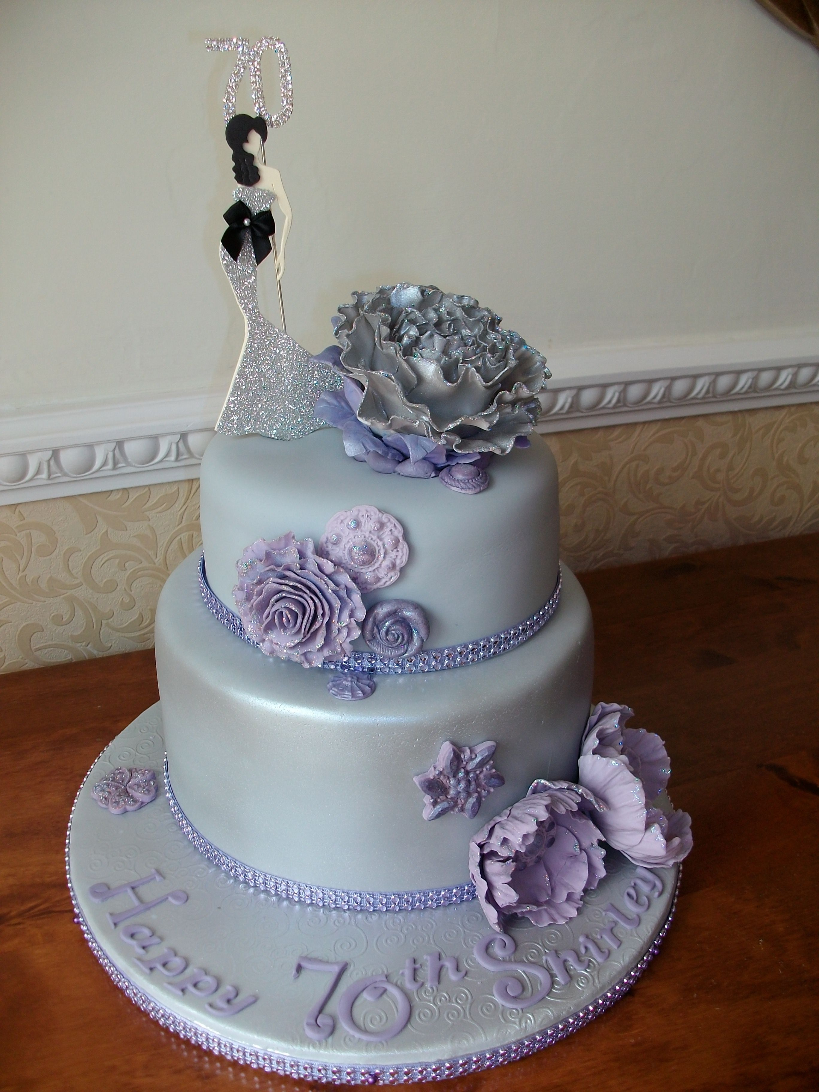 70th Birthday cake Silver cake with elegant lady cake topper and