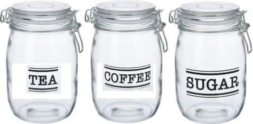 Tea Coffee Sugar Glass Canister Set Clip Top Coffee Sugar Tea Airtight Seal