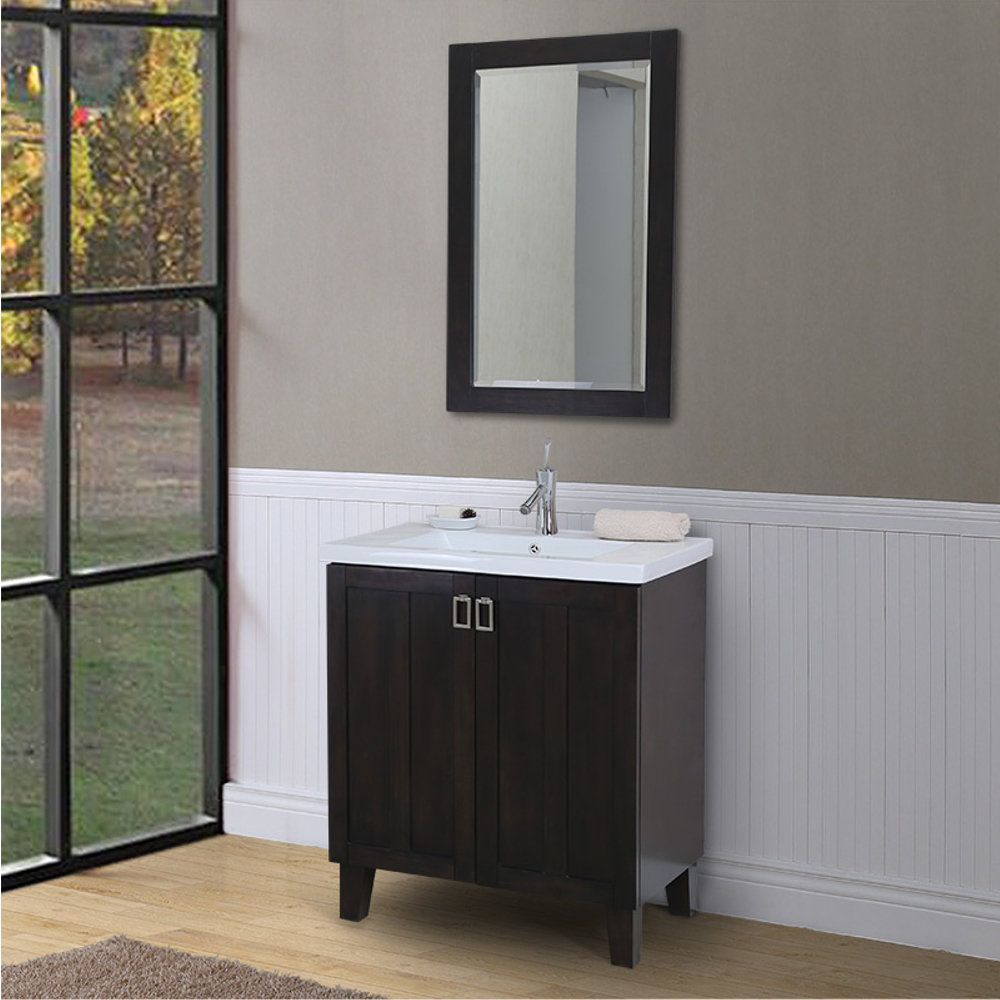 30 Inch Extra Thick Ceramic Sink Top Single Sink Bathroom Vanity In Dark Brown Finish With Framed Wall Mirror Overstock Com Shopping The Best Deals On Bathroom Vanities Mirror Gallery Wall
