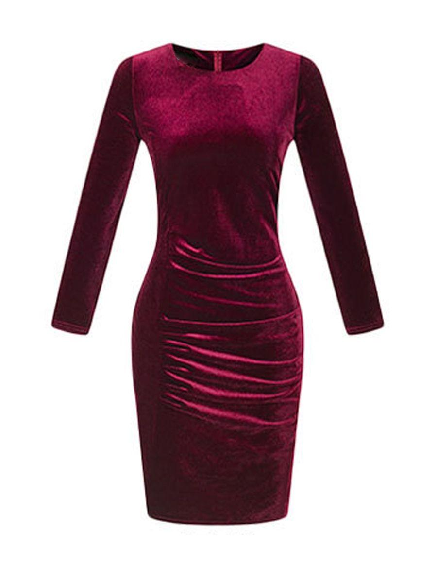 3e69fb9a1d Vintage Plain Velvet Round Neck Bodycon Dress   Bodycon dress, Dress ...