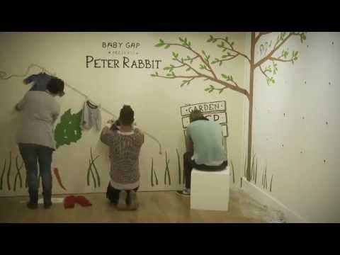 To celebrate the launch of Baby Gap's Peter Rabbit range an artist created a scene from the iconic rabbit at Gap's flagship store in London.