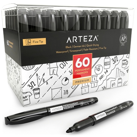Arteza Fabric Markers Black Color Permanent Dual-Tip Fabric Pens Set of 6