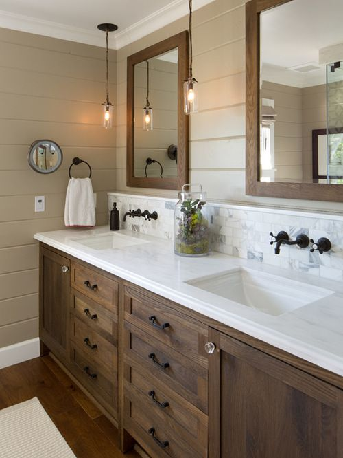 farmhouse bathroom idea in san diego with dark wood cabinets brown walls white tile - Farmhouse Bathroom Ideas