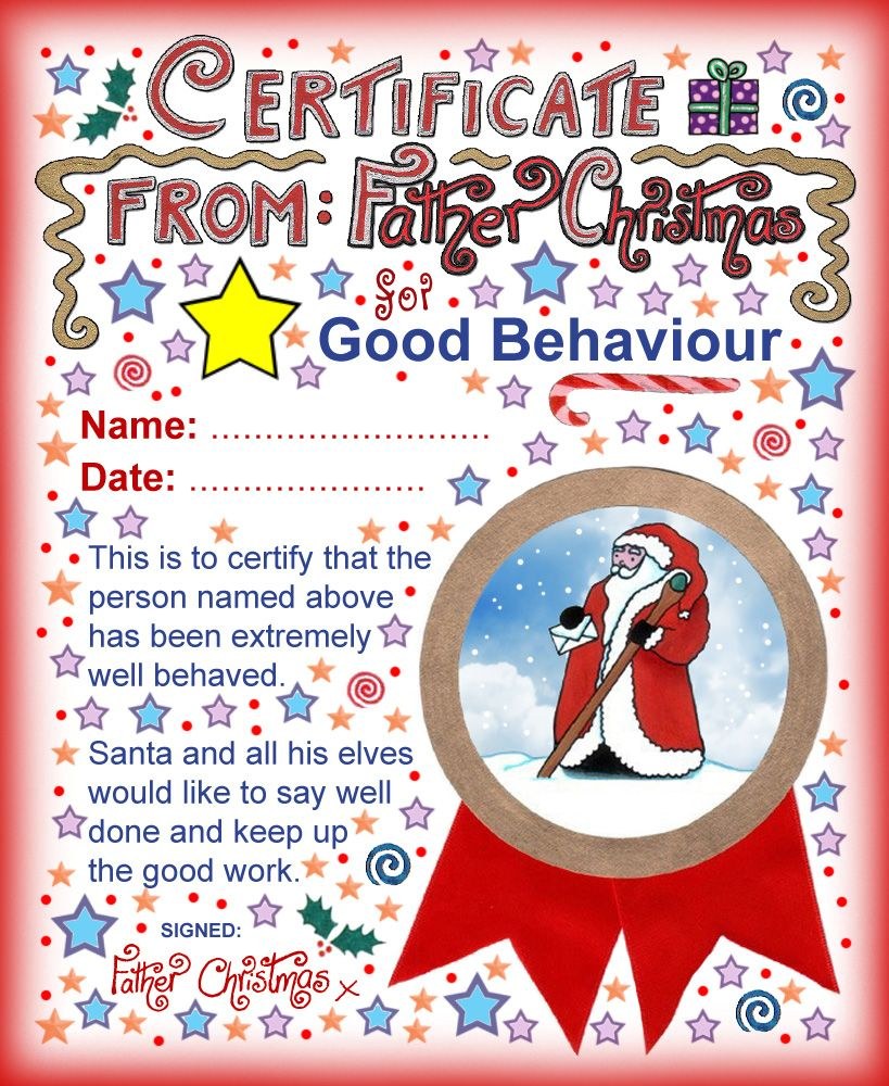 Good Behaviour Certificate From Father Christmas  Christmas