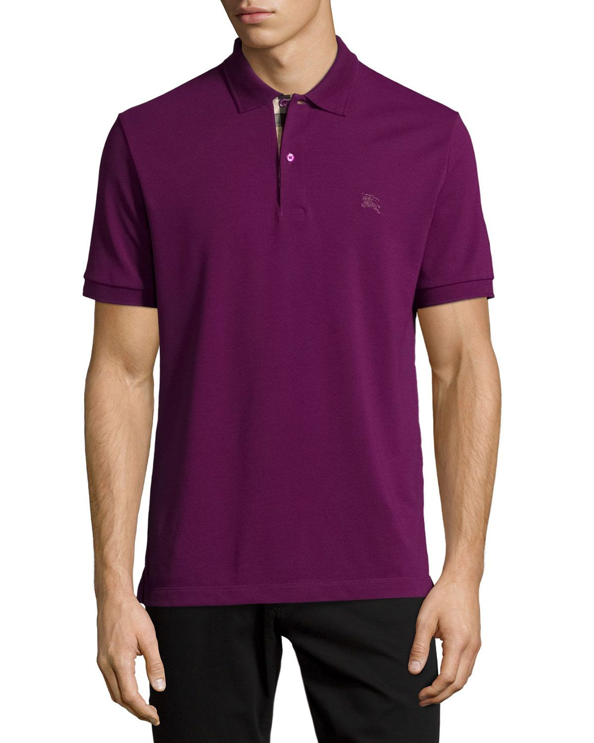 73d8c00b7b6 Check-Placket Piqué Polo Shirt