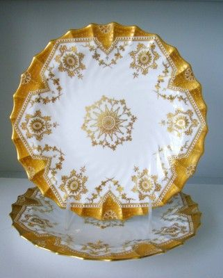 """Antique COPELAND SPODE CHINA GOLD ENCRUSTED BEADED ORNATE PLATES 9"""""""