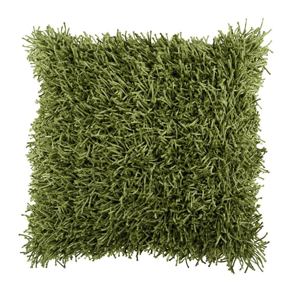 """18"""" x 18"""" Shag Pillow, Fern Green made by Jill Rosenwald Rugs & Accent Pillows."""