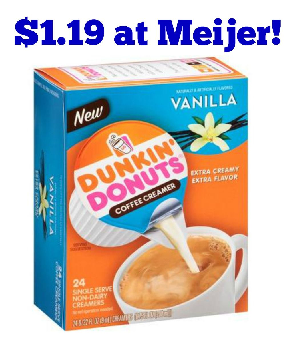 photo about Dunkin Donuts Coffee Printable Coupons identified as Meijer: Dunkin Donuts Espresso Creamer Singles Simply just $1.19