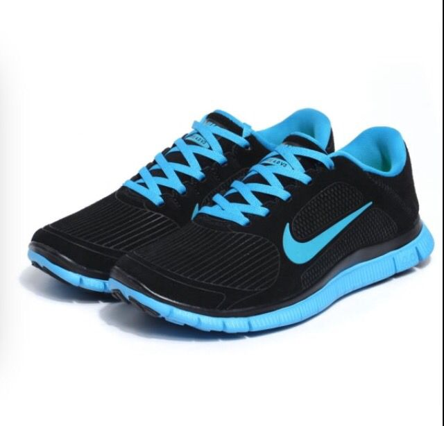 Black and neon blue   Women's Nike Shoes   Sneakers, Nike