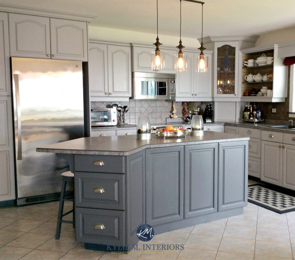 Ideas To Update Oak Or Wood Kitchen Cabinets: This Kitchen Shows Oak  Cathedral Style Cabinets Painted Benjamin Moore Baltic Gray And Gray  2121 10.