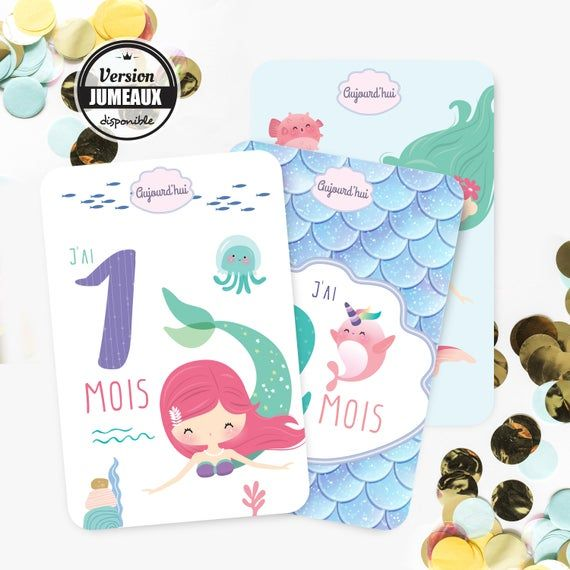 Steps baby Mermaid cards – Baby – newborn gift – baby – themed Little Mermaid gift – step cards steps baby girl