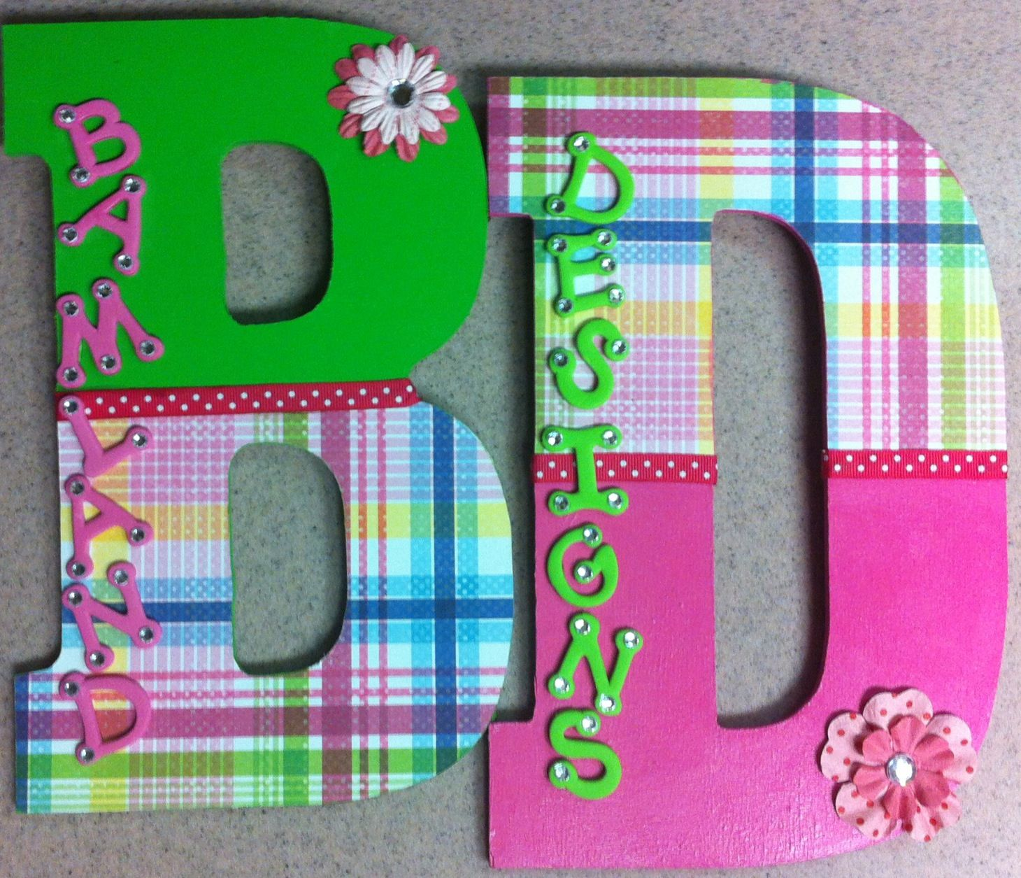 Personalized homemade nursery decor wall letters kids door for Homemade wall letters