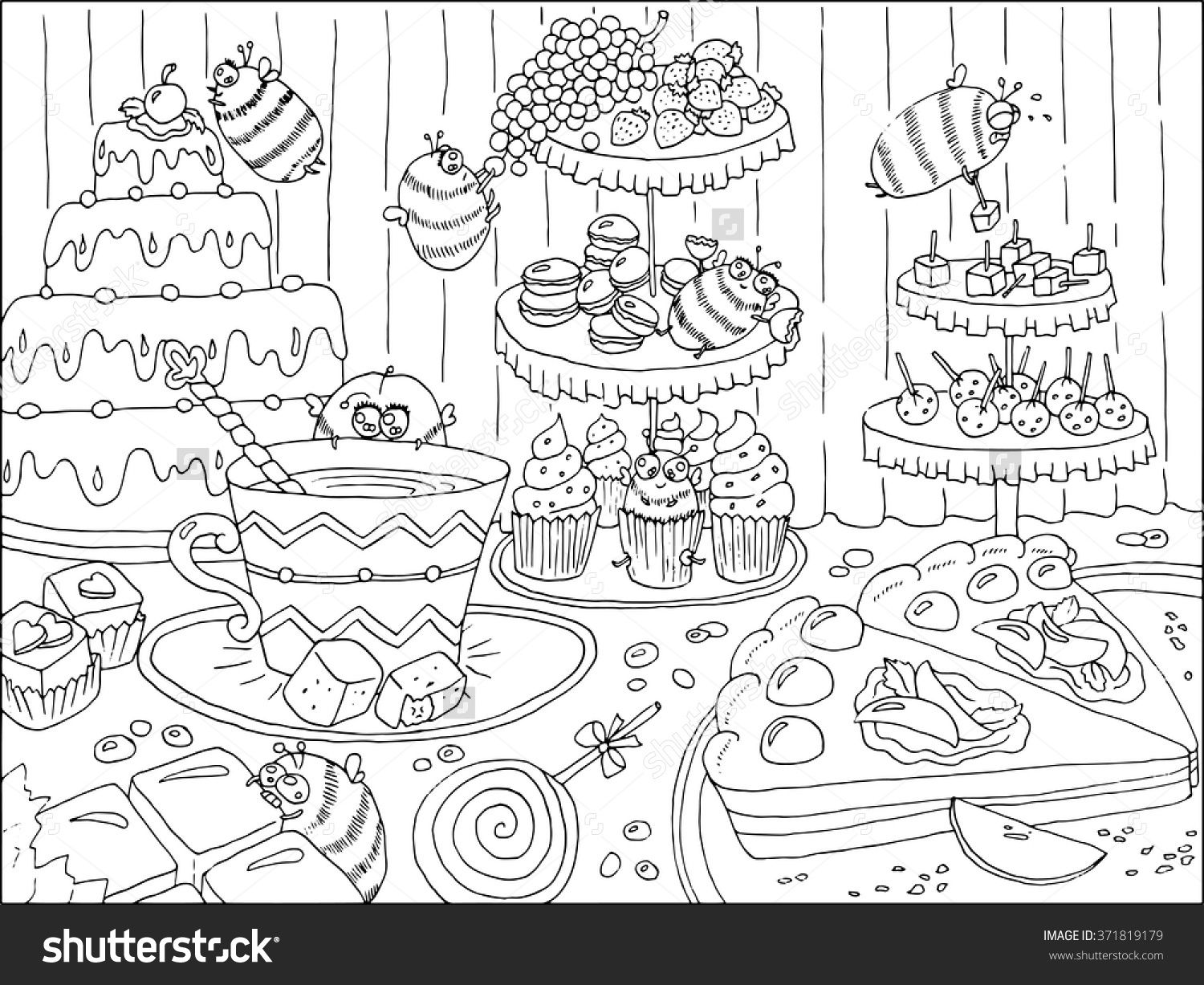 Black And White Hand Drawn Illustration With Funny Bees In Sweetshop Artwork With Cakes Sweets And Ca Coloring Books Drawing Illustration How To Draw Hands