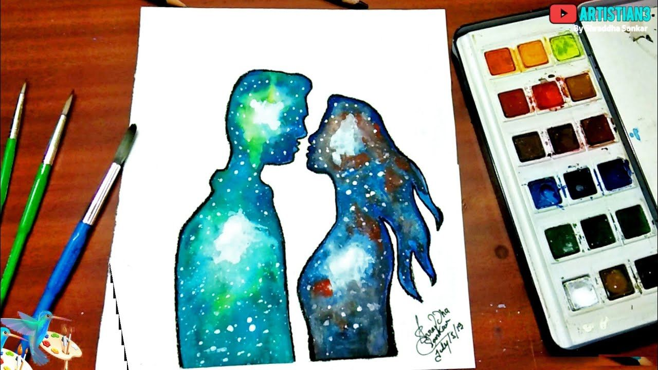 Beautiful Double Exposure Romantic Drawing For Beginners With Water Colour New Double Exposure Drawi Romantic Drawing Drawing For Beginners Double Exposure Art