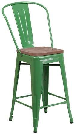 Flash Furniture 24 High Green Metal Counter Height Stool With Back