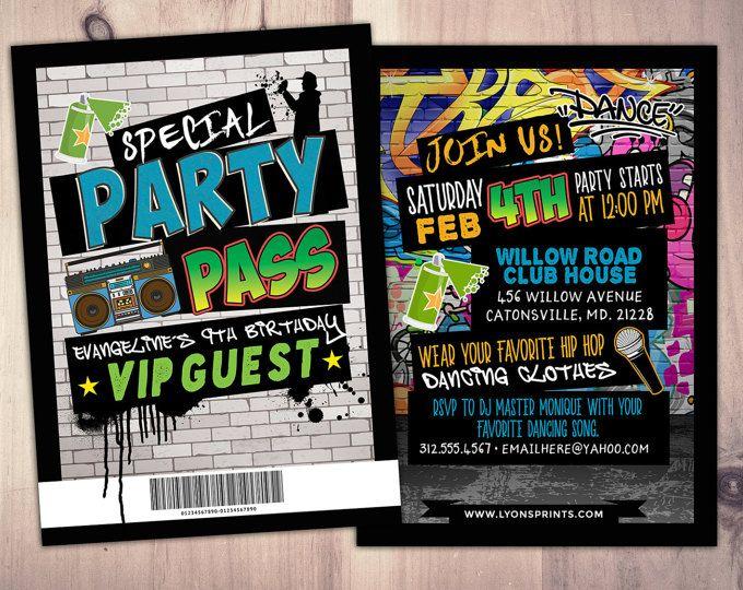 Hip Hop, Swagger, VIP PASS, backstage pass, Vip invitation, birthday - fresh birthday party invitation designs