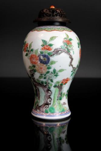 Exquisite Kangxi Period Famille Verte Vase Antique Chinese Porcelain