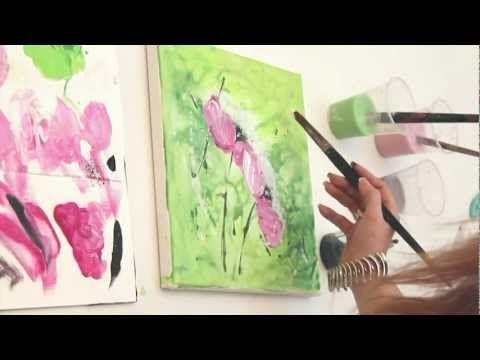 Abstrakte Magnolie Mit Einfachen Pinselstrichen Einfach Malen