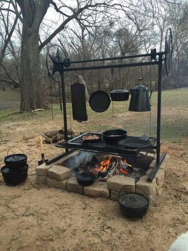 Hillbilly Cast Iron Fire Pit Grill Outdoor Fire Fire Pit