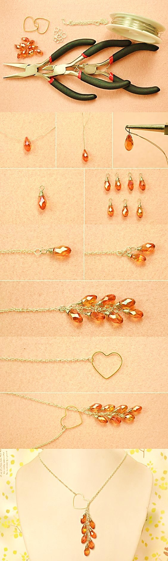 90da3f7943e0 collar cristales ambar bisuteria paso a paso gratis joyeria joyas tutorial