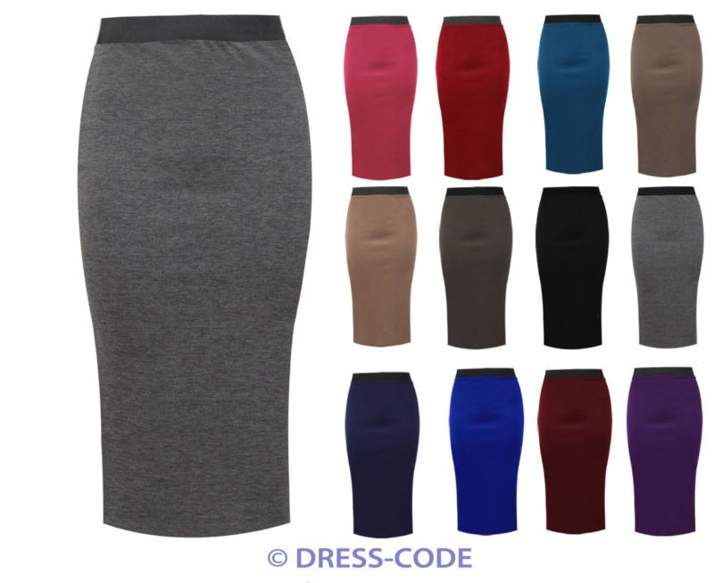 NEW WOMNES PLAIN LONG BELTED SLIM BODY CON OFFICE PENCIL STRETCH OFFICE SKIRTS