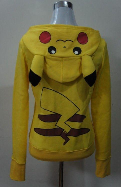 JP Anime Pokemon Pikachu Ladies Zips Sweatshirt Hoodie