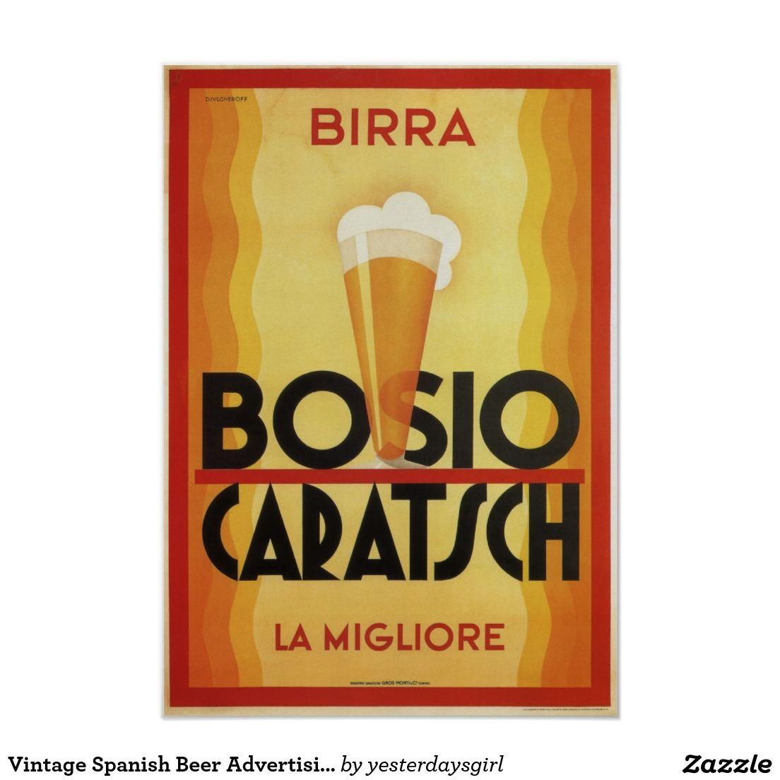 Vintage Spanish Beer Advertising Poster, Birra Poster ...
