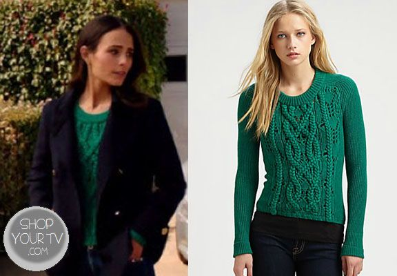 Elena (Jordana Brewster) wore this green cable-knit sweater in an episode of Dallas.