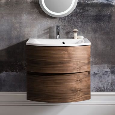 The Bathroom Factory Bauhaus Svelte Wall Mounted Vanity Unit Storage Cabinet Cupboard Drawers Mineral Marble Basin Sink In American Walnut