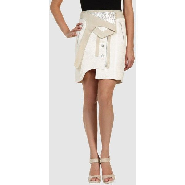 See this and similar Alexander Wang knee length skirts - Composition: 100% Cotton, Soft leather. Details: darts, leather applications, appliqué, snap-buttons, z...