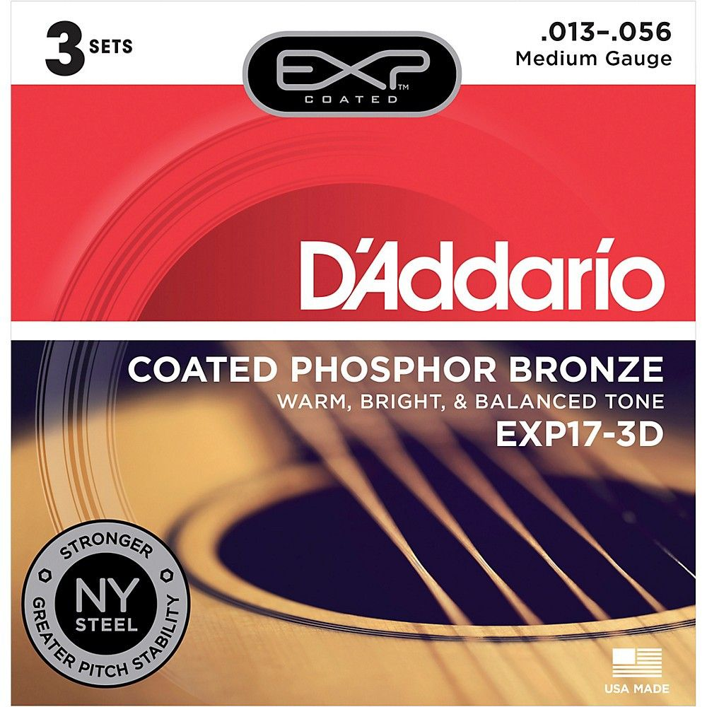 Medium Gauge D/'Addario EXP17 Coated Phosphor Bronze Acoustic Stings