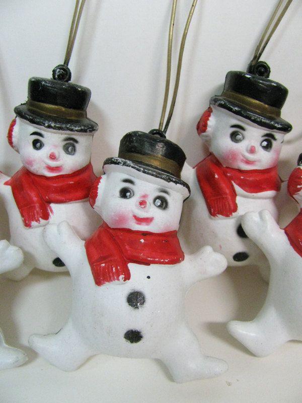 10 vintage plastic snowmen - 1950s or 1960s christmas decorations