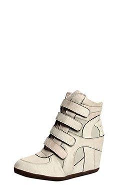 Jessie Beige Velcro Hi Top Wedge