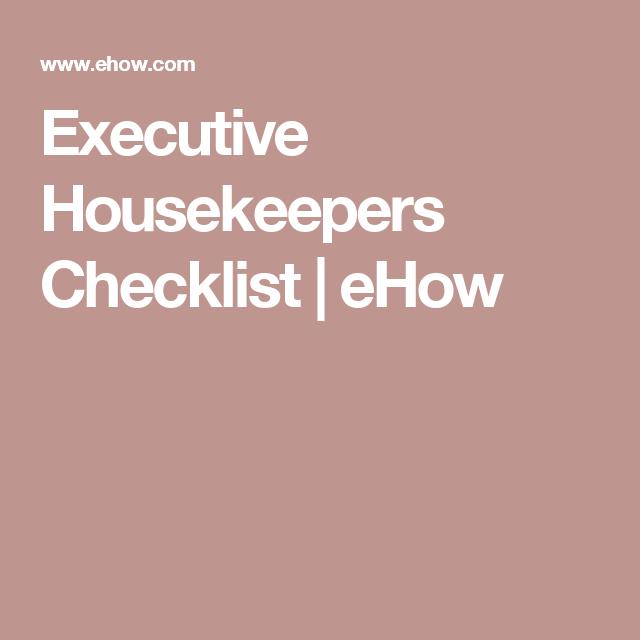 Executive Housekeepers Checklist   eHow   Hotel & Hospitality