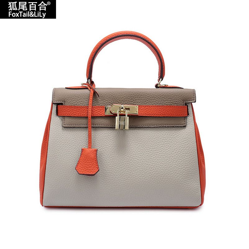 008a7de55 100% Cowhide Real Leather Bag Platinum Lock Bags Women's Handbags Famous  Brands Genuine Leather Tote Shoulder Crossbody Bags - HandBagList