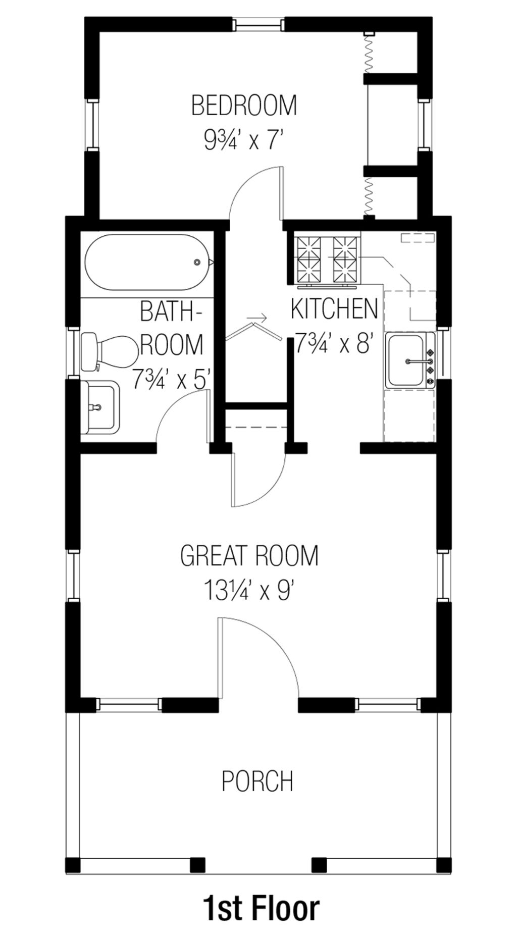 Bungalow Style House Plan 1 Beds 1 Baths 356 Sq Ft Plan